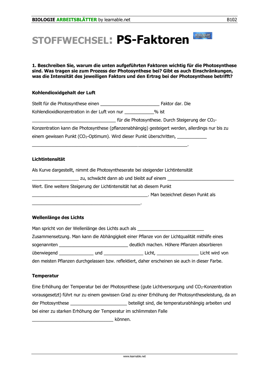 Photosynthese Faktoren – Unterrichtsmaterial im Fach Biologie ...