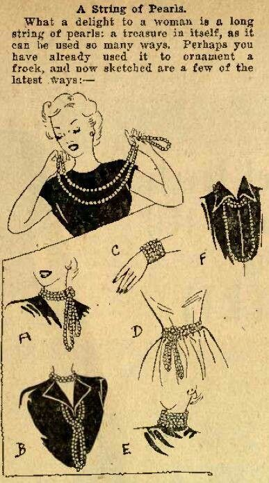 how to wear pears vintage fashion style 40s 50s necklace jewelry illustration graphic