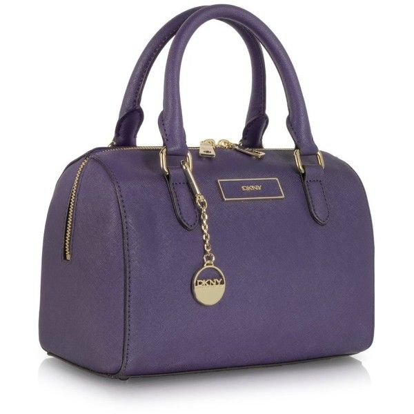 DKNY Small Purple Saffiano Leather Satchel ($315) found on Polyvore
