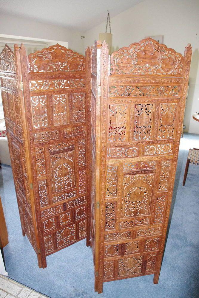 Hand Carved Wooden Room Divider Floor Screen ~ Thai indonesian hand carved wood room divider screen