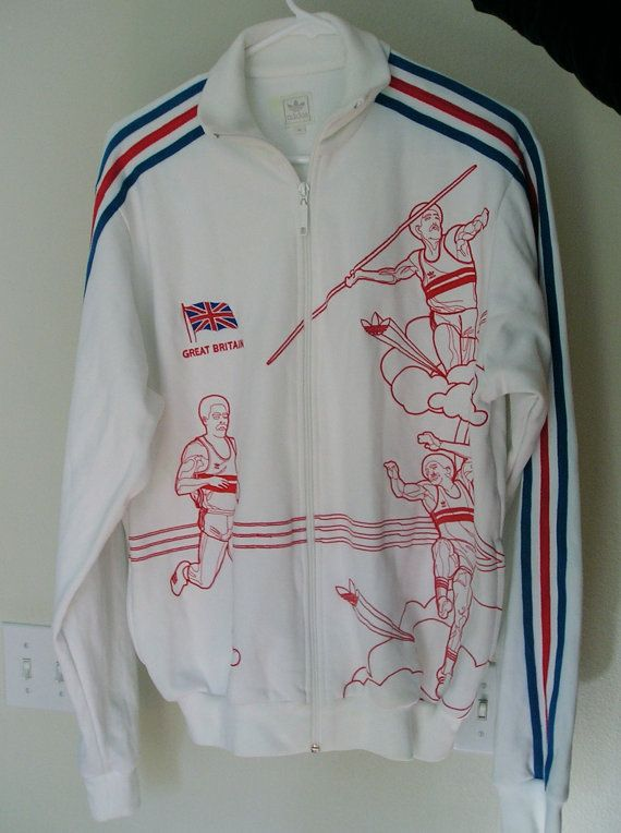 Vintage 80s Adidas Great Britain Daley Thompson Olympic Track Jacket