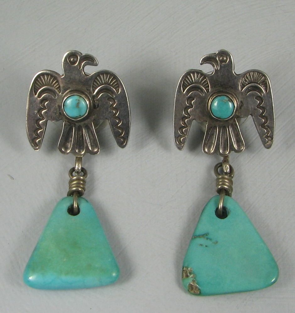 Old Navajo Fred Harvey Thunderbird Turquoise Drop Earrings