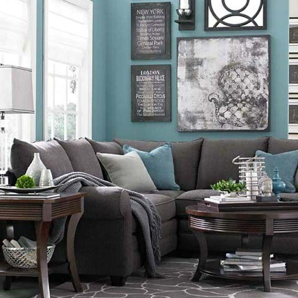 wohnideen für wohnzimmer farben wandgestaltung sofas kissen - wohnideen fürs wohnzimmer