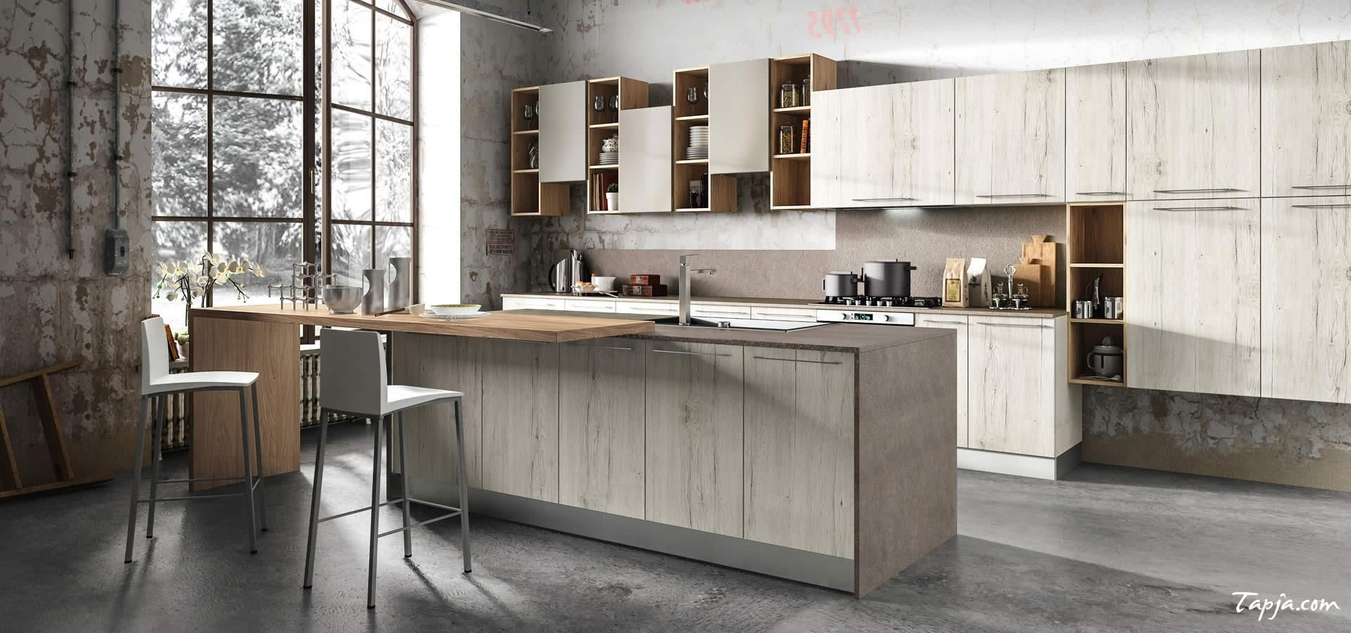 Rustic Italian Modern Kitchen Design With Wooden Cabinet Kitchen