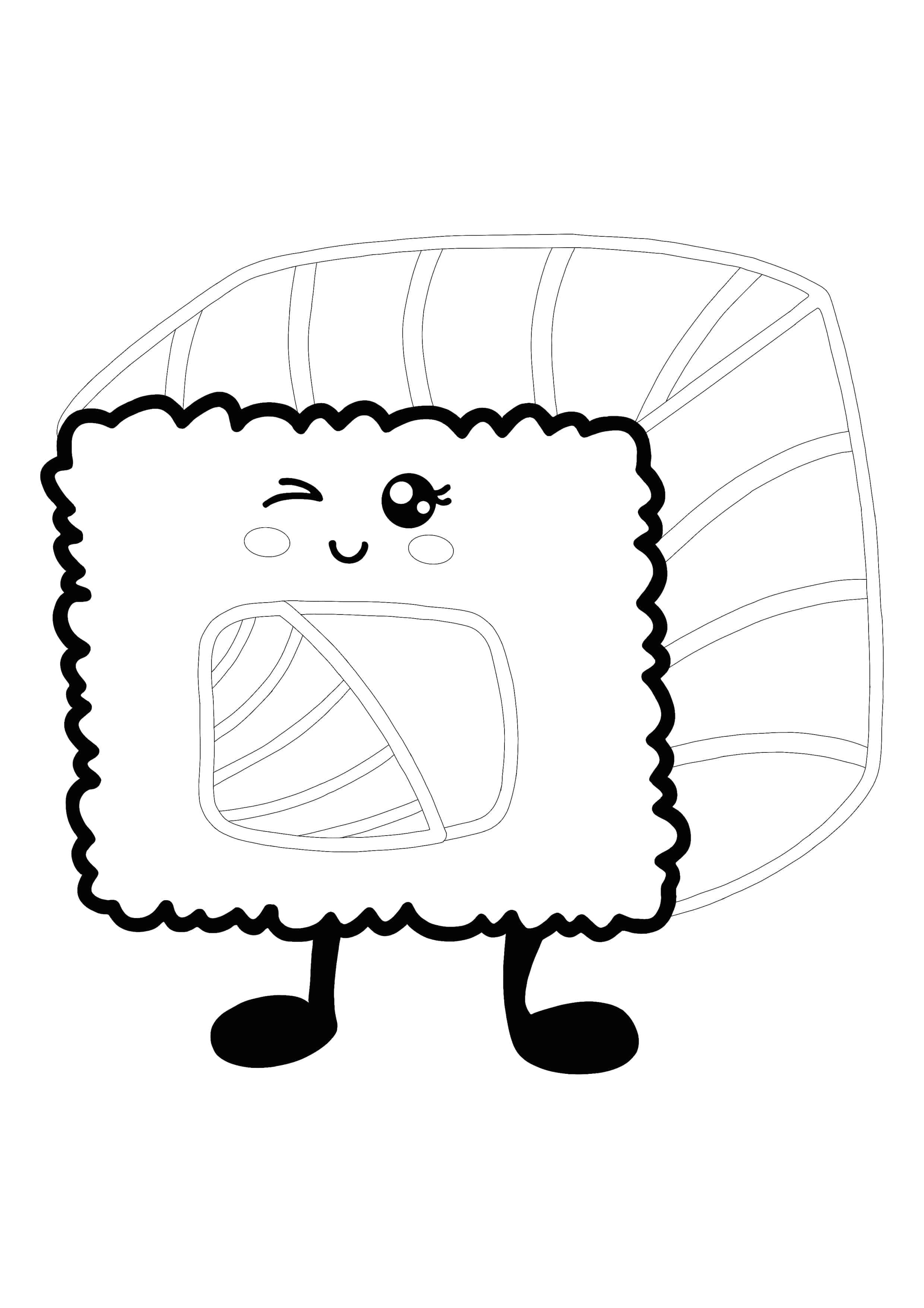 Kawaii Sushi Roll Coloring Page Coloring Pages Free Printable Coloring Pages Free Printable Coloring