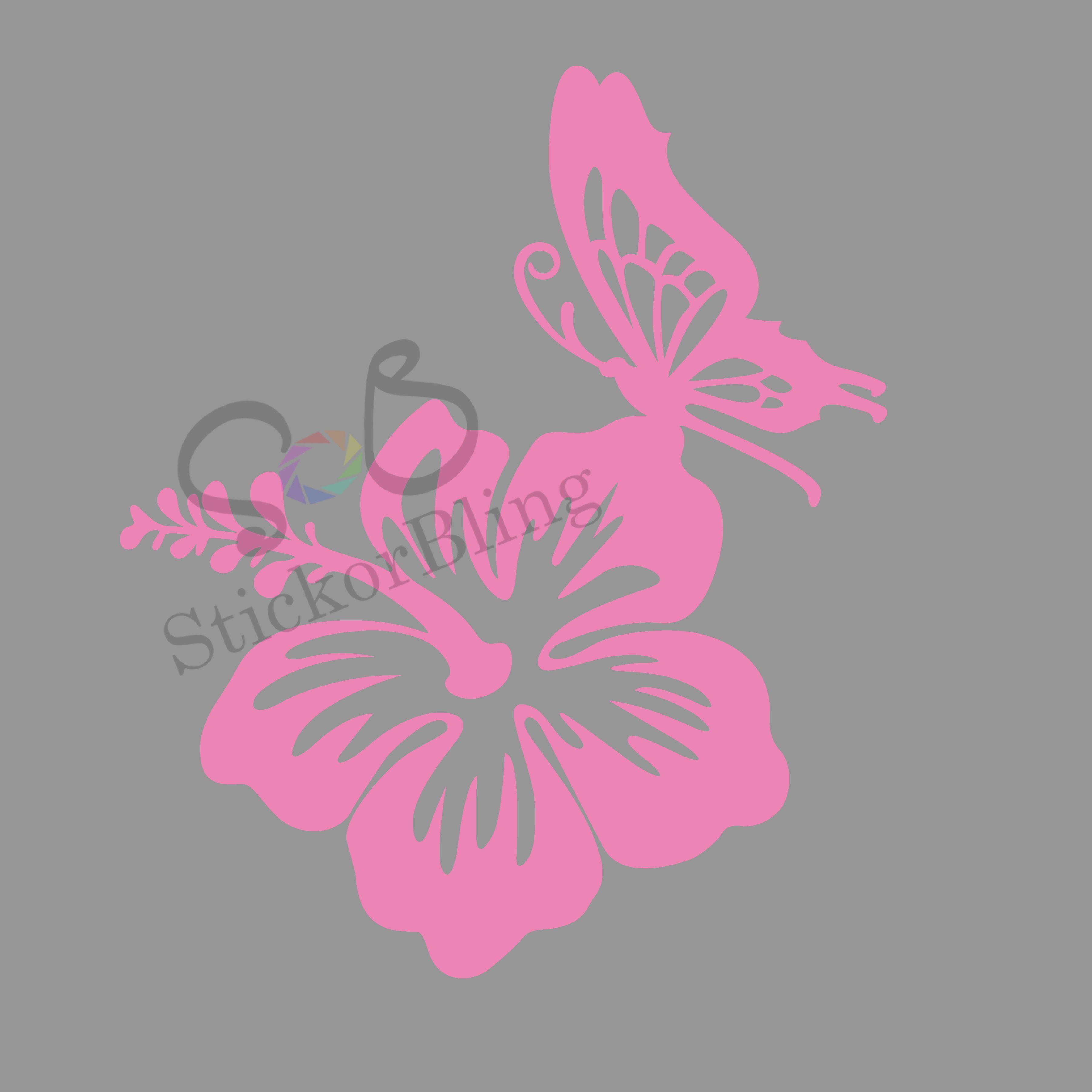 Hawaiian Hibiscus Flower Butterfly Vinyl Decal Sticker Car Window Bumper Laptop Vinyl Decals Vinyl Decal Stickers Vinyl [ 3600 x 3600 Pixel ]