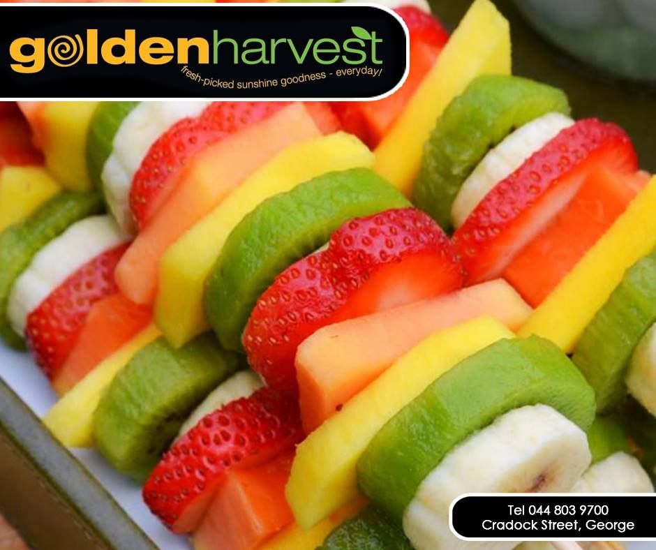 Try these healthy fresh fruit kebabs the next time you crave something sweet! Get your scrumptious summer fruit, veggies and more at #GoldenHarvest. #healthyliving #freshpicked #summerfruit