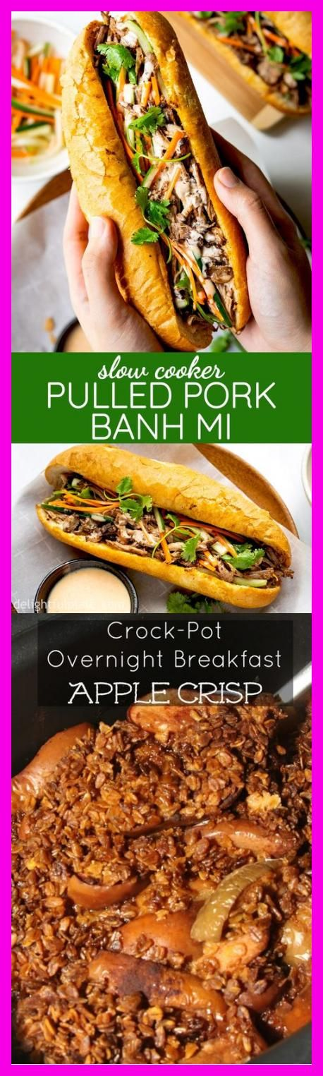 This slow cooker pulled pork banh mi recipe features Vietnamese baguette (banh mi) filled with tender and flavorful pulled pork, pickled vegetables, and tasty sriracha mayo sauce. This delicious banh mi is so easy to make, and it's great for breakfast, lunch or even dinner. #slowcooker #crockpot #banhmi #vietnameserecipes #pulledpork #porkrecipes  #Slow #Cooker #Breakfast #Burritos #Pretty #Providence #Freizeit-T-Shirt-Outfit #foodphotography #myfoodandfamily #cars #outfitsideen #makeupideen #br