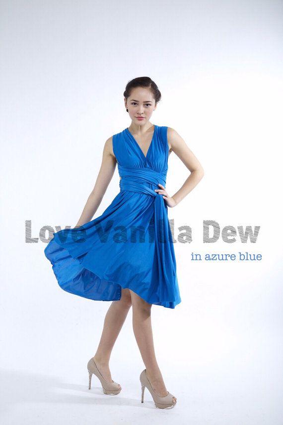 Bridesmaid Dress Infinity Dress Straight Hem Azure Blue Knee Etsy Bridesmaid Dresses Convertible Wedding Dresses Dresses