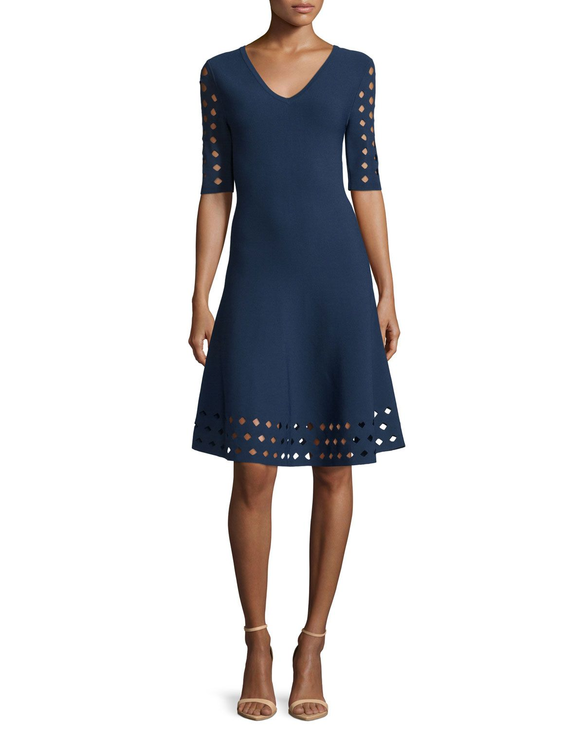 Half-Sleeve Diamond Pointelle Fit-&-Flare Dress, Navy (Blue) - Milly