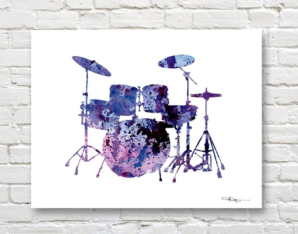 MUSICAL NOTE Abstract Contemporary Watercolor ART 11 x 14 Print by DJR