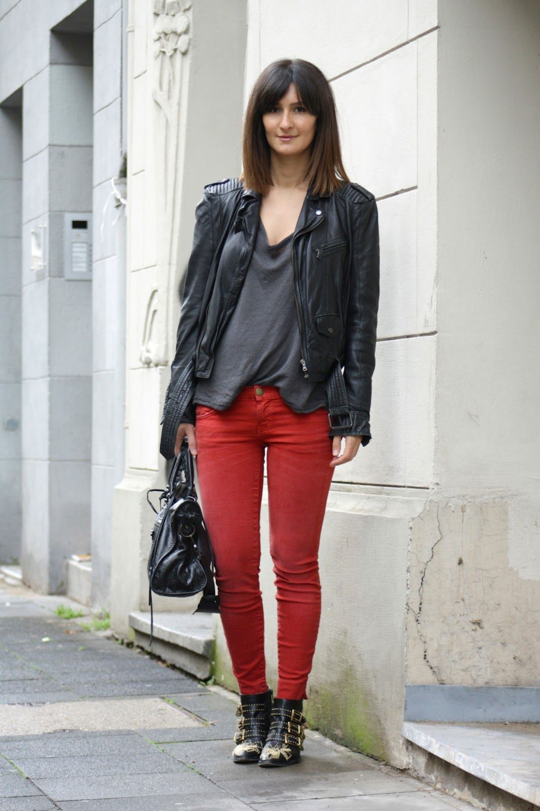 grey oversize tee: T by Alexander Wang, red skinny jeans: Current ...