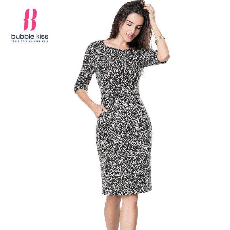 Bodycon Office Dress Vintage Prin,t Half Sleeve Knee Length Pocket Pencil Dress