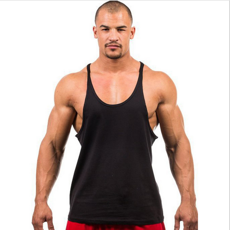 2758ea9a74a000 90% cotton solid color muscle stringer quick dry custom wholesale blank crop  fitness gym men tank top gym