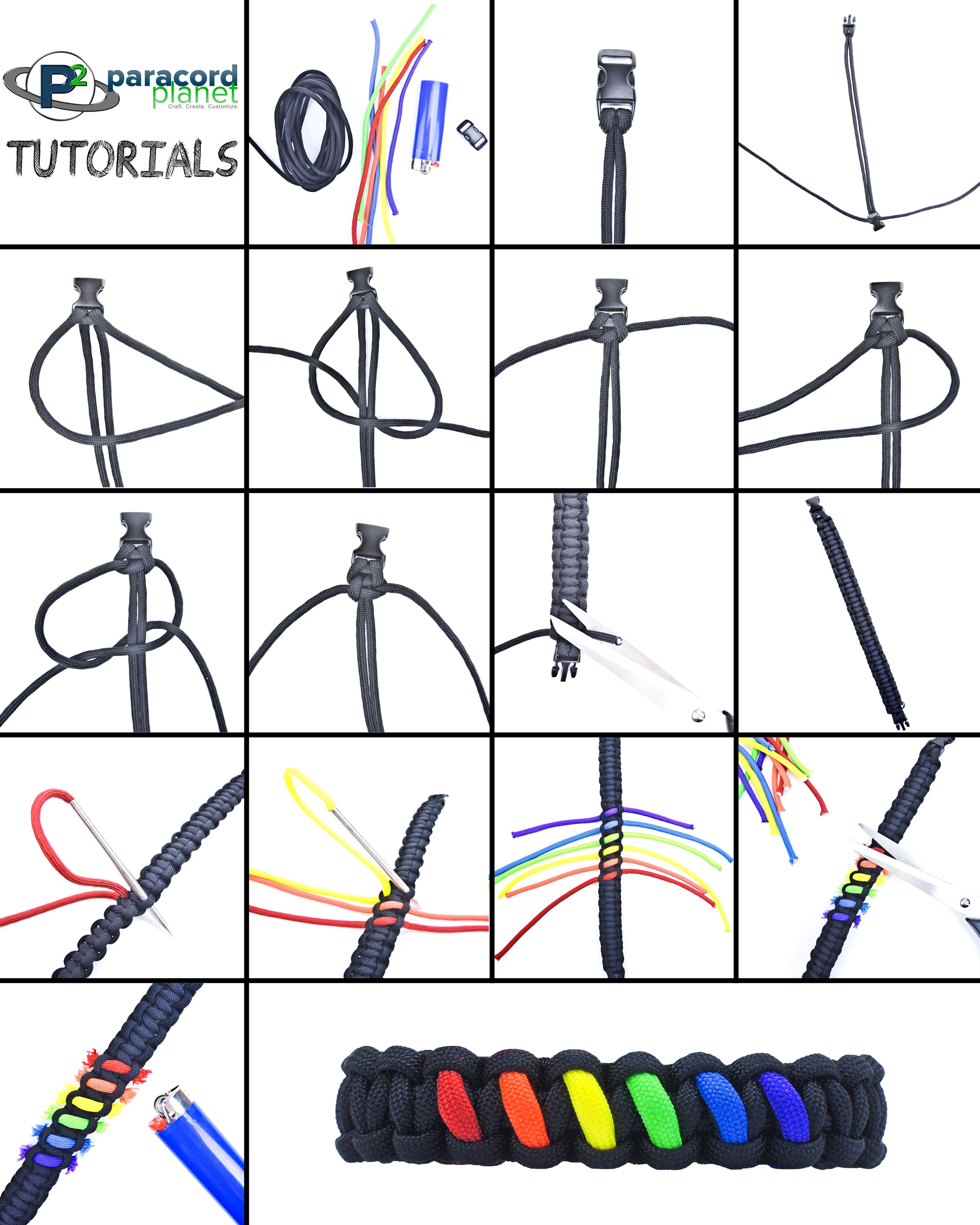 Basket Weave Paracord Bracelet Tutorial : Rainbow paracord bracelet tutorial tutorials