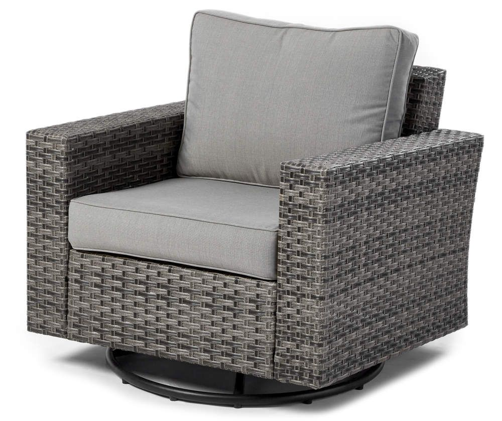 big lots outdoor chairs on Broyhill Eagle Brooke Gray All Weather Wicker Swivel Cushioned Patio Glider Big Lots In 2021 Patio Glider Patio Seating Sets Outdoor Glider Chair