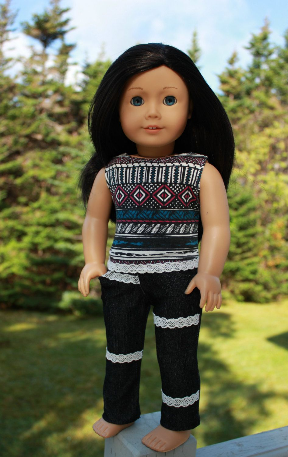 18 inch doll clothes, geometric print tank top, black skinny jeans with lace trim, american girl ,maplelea by UpbeatPetites on Etsy