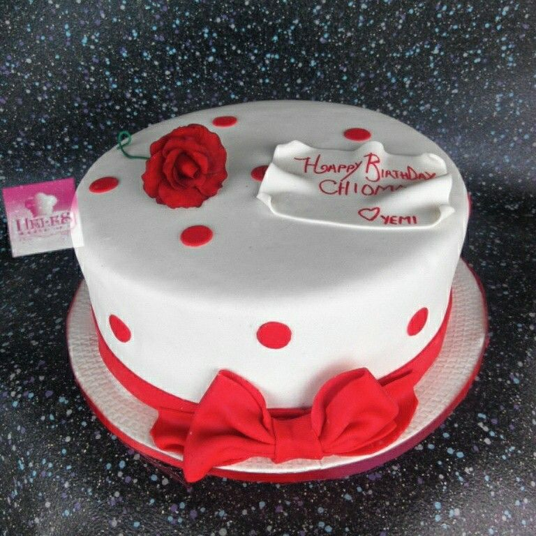 Red and white cake with rose kids birthday cakes heles Pinterest