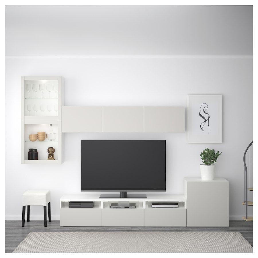 Vitrinenturen Deutschland Lappviken Tv Komb Klarglasbesta Tv Komb Mit Vitrinenturen Weiss La In 2020 Living Room Tv Living Room Tv Wall Living Room Design Diy