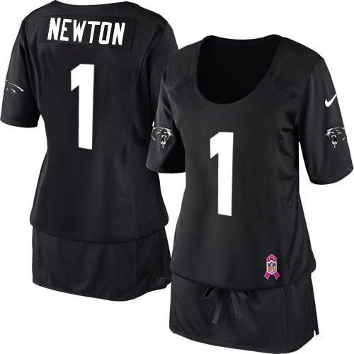 8316b953a Nike Panthers  1 Cam Newton Black Team Color Women s Breast Cancer  Awareness Embroidered NFL Elite Jersey! Only  20.50USD