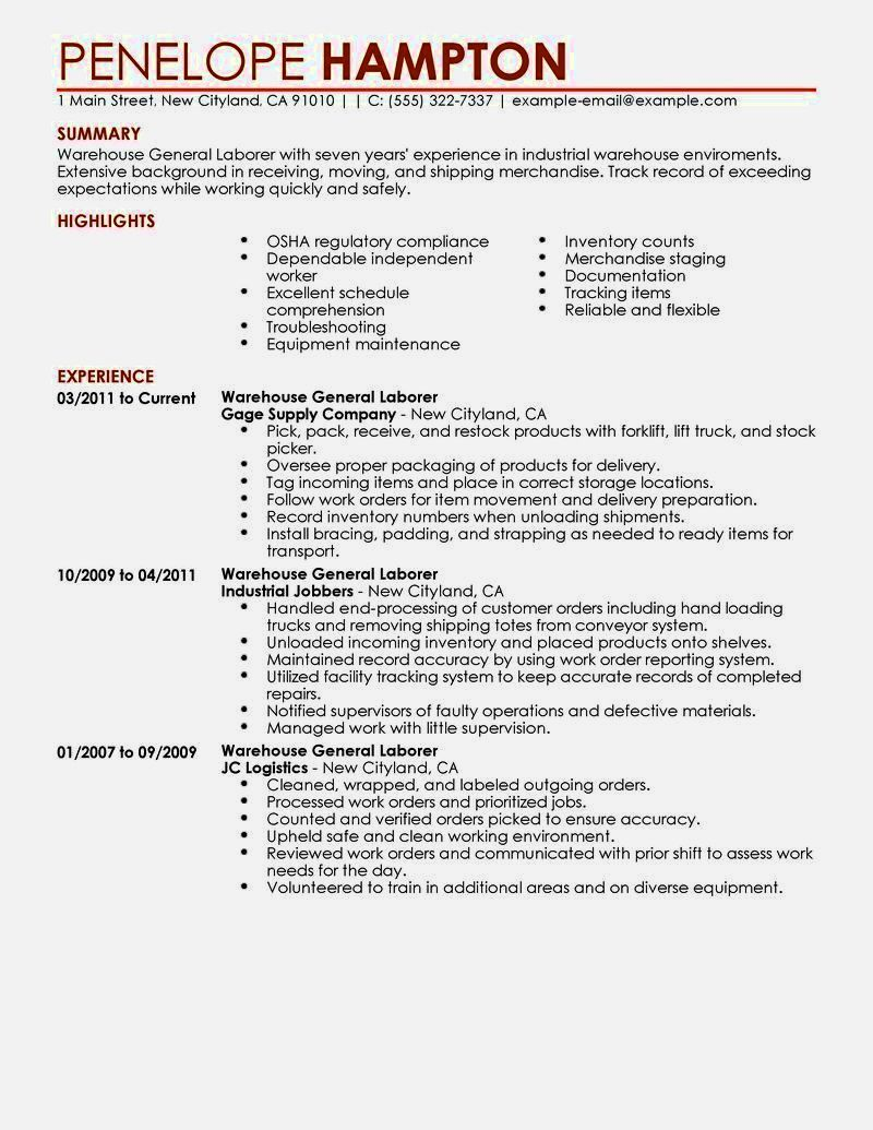 Laborer Resume Httpinformationgateresumelettercvwarehousesteel