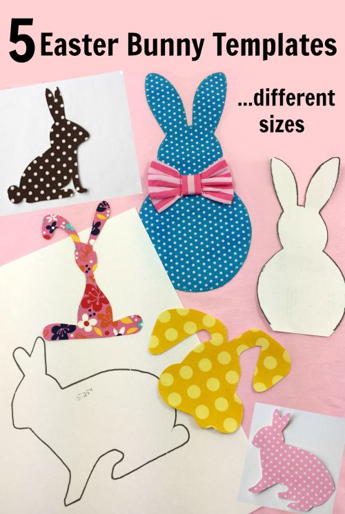 5 free bunny appliqué templates for you. The downloads come in one size but with increasing and decreasing the print scale you will be able to print them out in several sizes | DIY Crush