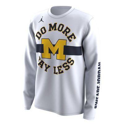56e752af9d2d54 Men s Jordan Brand White Michigan Wolverines 2018 NCAA Men s Basketball  Tournament March Madness Bench Legend Performance Long Sleeve T-Shirt