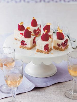 White Chocolate & Raspberry cheesecakes...cute little starters for parties!
