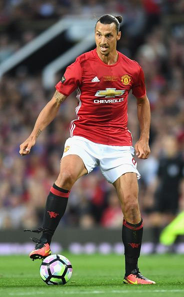 Zlatan Ibrahimovic of Manchester United in action during the Wayne Rooney Testimonial match between Manchester United and…