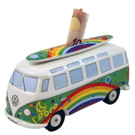 VW Bus Money Bank with Surfboard-Peace & Love #surfsup