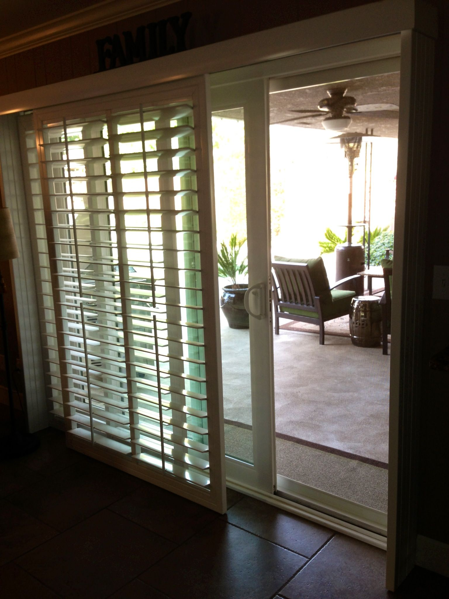 Shutters for sliding glass doors...No more ugly vertical