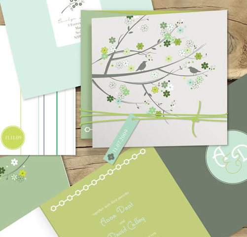 Bird and Blossom, sweet wedding invitation, Lilykiss