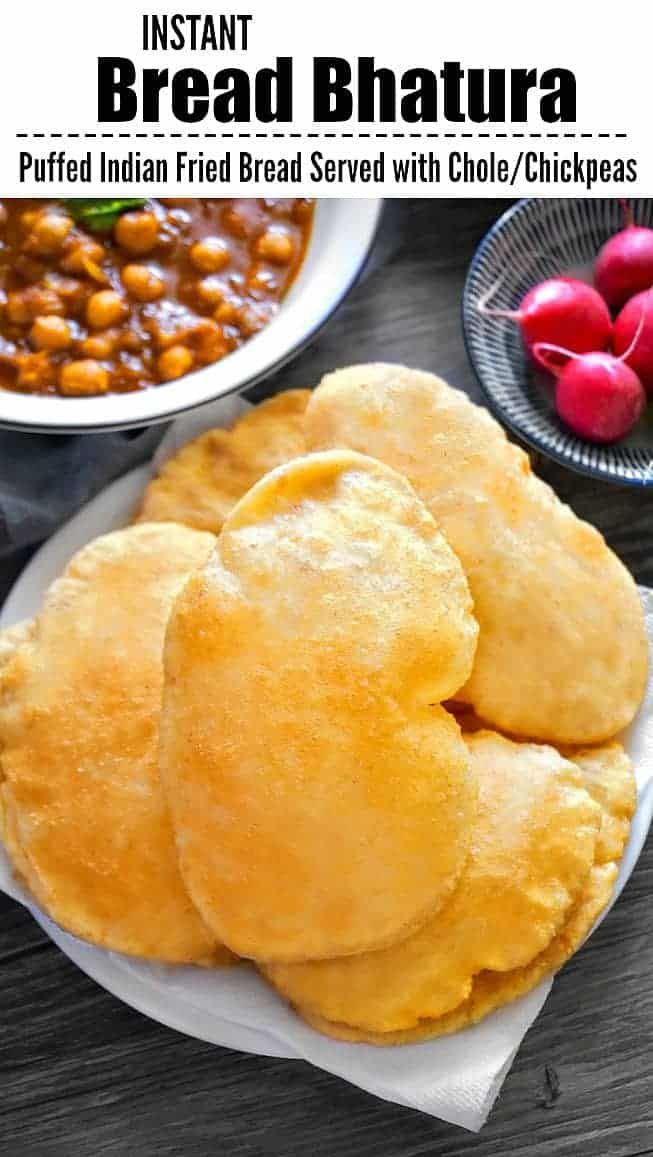Instant Bread Bhatura (Puffed Indian Fried Bread) Also called Punjabi Bhatura: #bhatura #instantbhatura #breadbhatura #indianfood #holi #flatbread