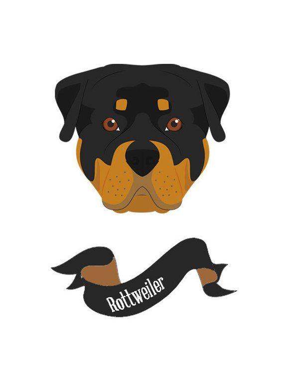 Rottweiler Dog Print Dog Print Pet Print Pet Name Print Custom