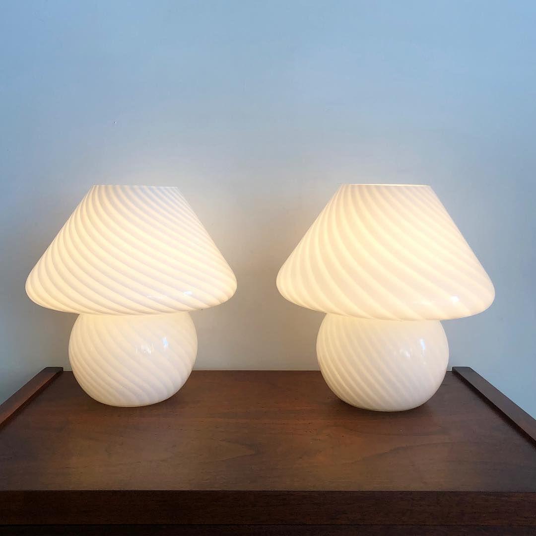 Vintage Pair Of Murano Mushroom White Swirl 70s Globe Lamps Murano Lamp Mushroom Lamp Globe Lamps