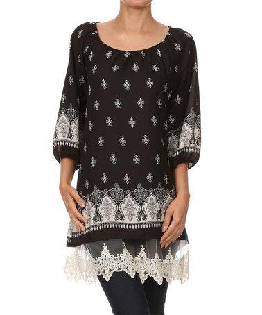 Loving this Black Arabesque Three-Quarter Sleeve Tunic on #zulily! #zulilyfinds