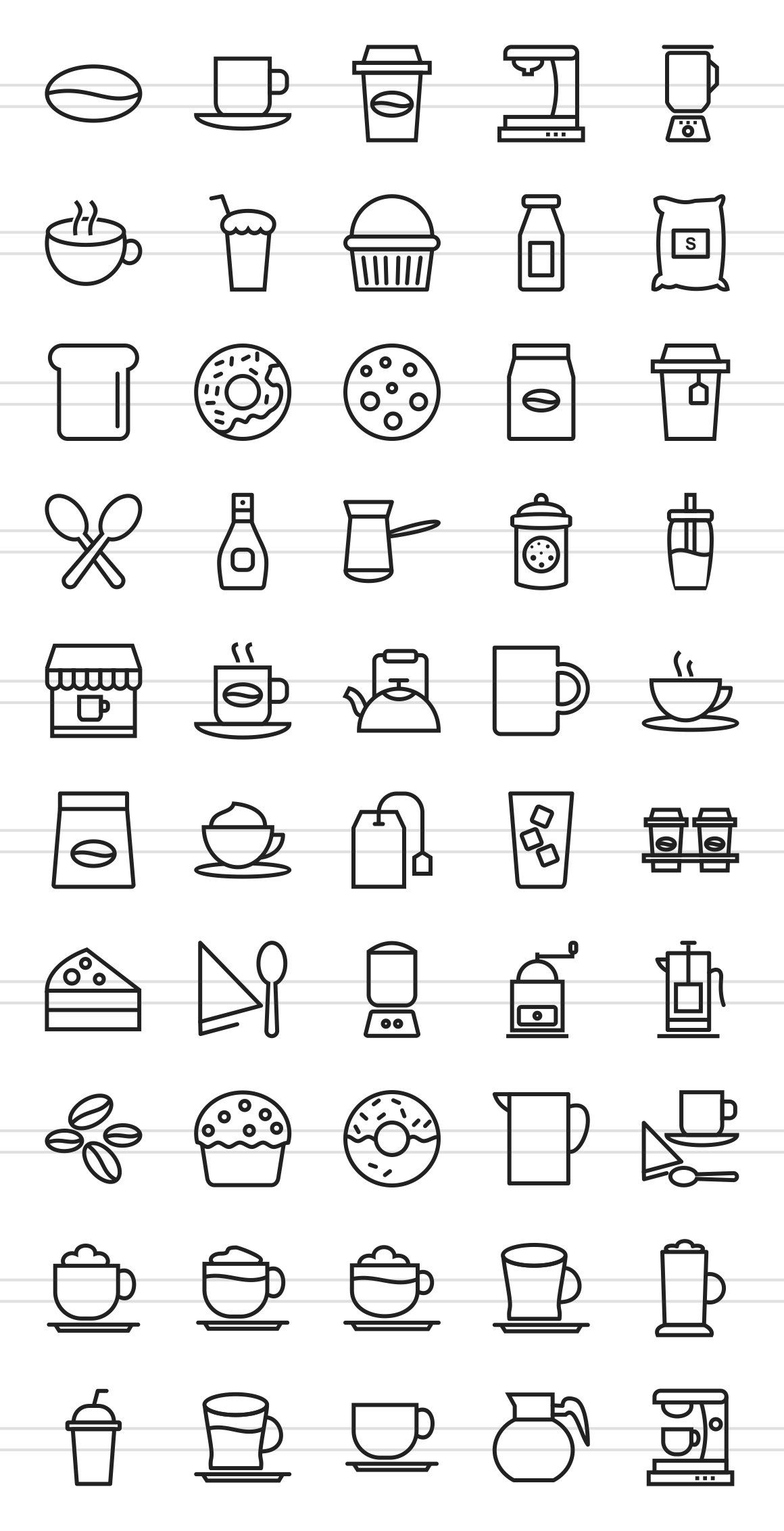 50 Coffee Shop Line Icons