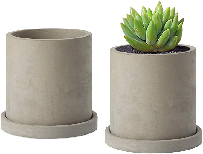Amazon Com Moonla 4 Inch Gray Unglazed Cement Succulent Planter Pots Concrete Cactus Planter Mini Plant Pot Flo Mini Plant Pots Planter Pots Succulent Planter