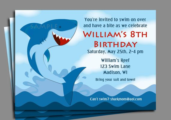 Free Printable Shark Birthday Invitations