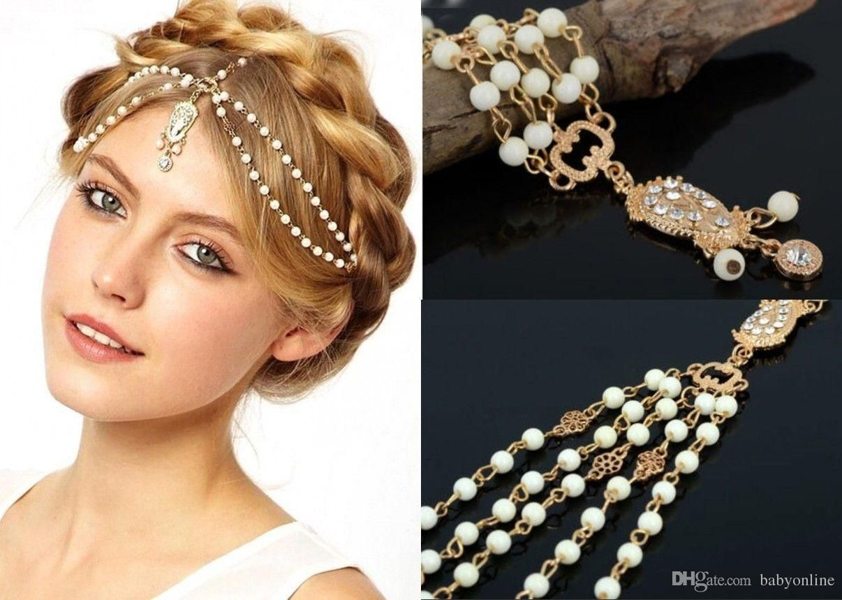 Hair Accessories Brides - Hairstyle for brides 2016 in stock wedding bridal hair accessories for women metal beaded pearl head