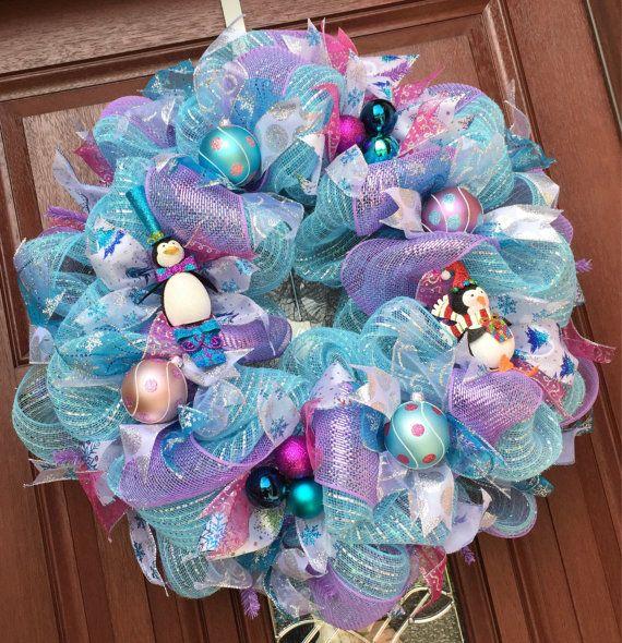 Pastel Blue Purple Deco Mesh Christmas Wreath Pink Blue Teal Silver Purple Holiday Wreath Deco Mesh Christmas Wreaths Christmas Wreaths Christmas Mesh Wreaths