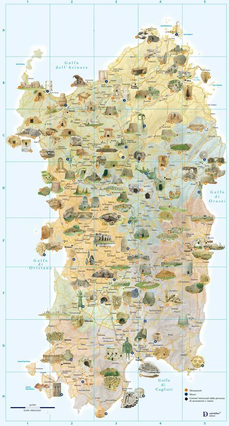 Tourist And Archaeology Map Of Sardinia Large Map Tourist Map