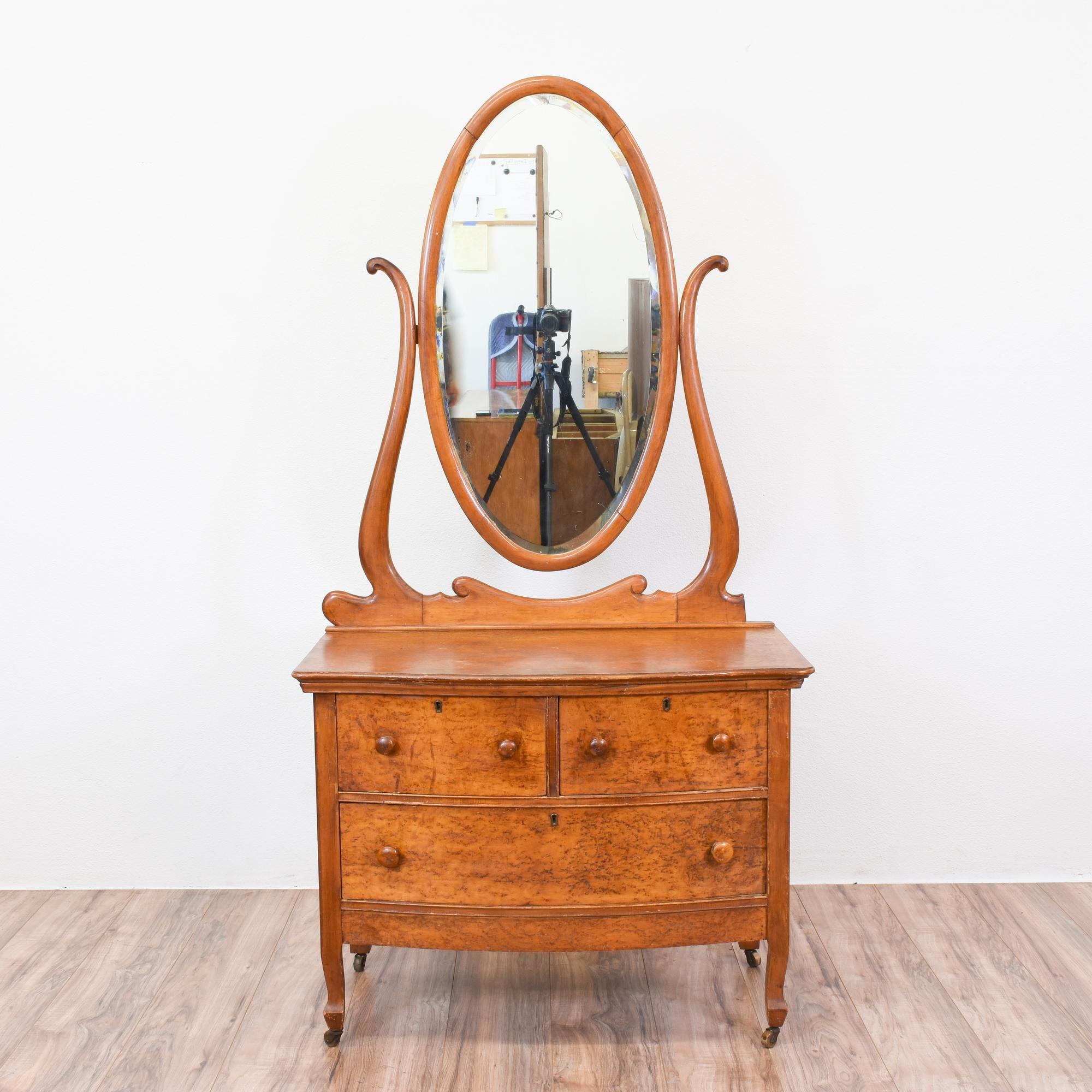 Antique Birdseye Maple Vanity Dresser W