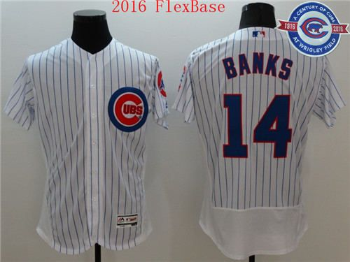 Men's Chicago Cubs #14 Ernie Banks White Pinstripe 100th Anniversary 2016 Flexbase Jersey