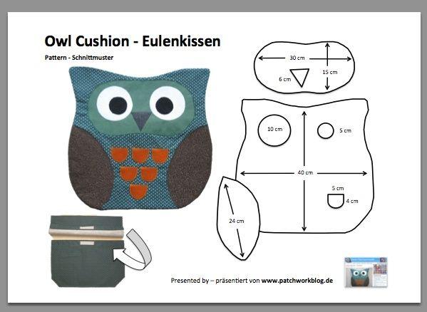 Owl Cushion Pattern  EulenkissenSchnittmuster als PDFDatei