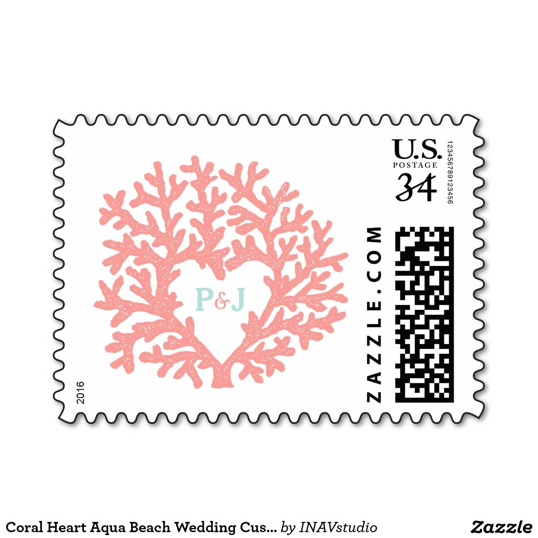 Coral Heart Aqua Beach Wedding Custom Postage | Beach weddings, Aqua ...
