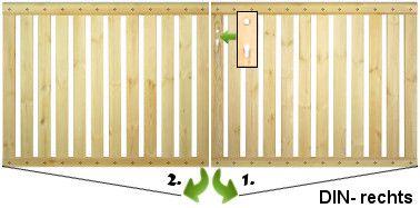 Geländertor zweiflügelig mit  Schlossfräsung DIN- rechts, kesseldruckimprägniert, für Geländer - Holzzäune