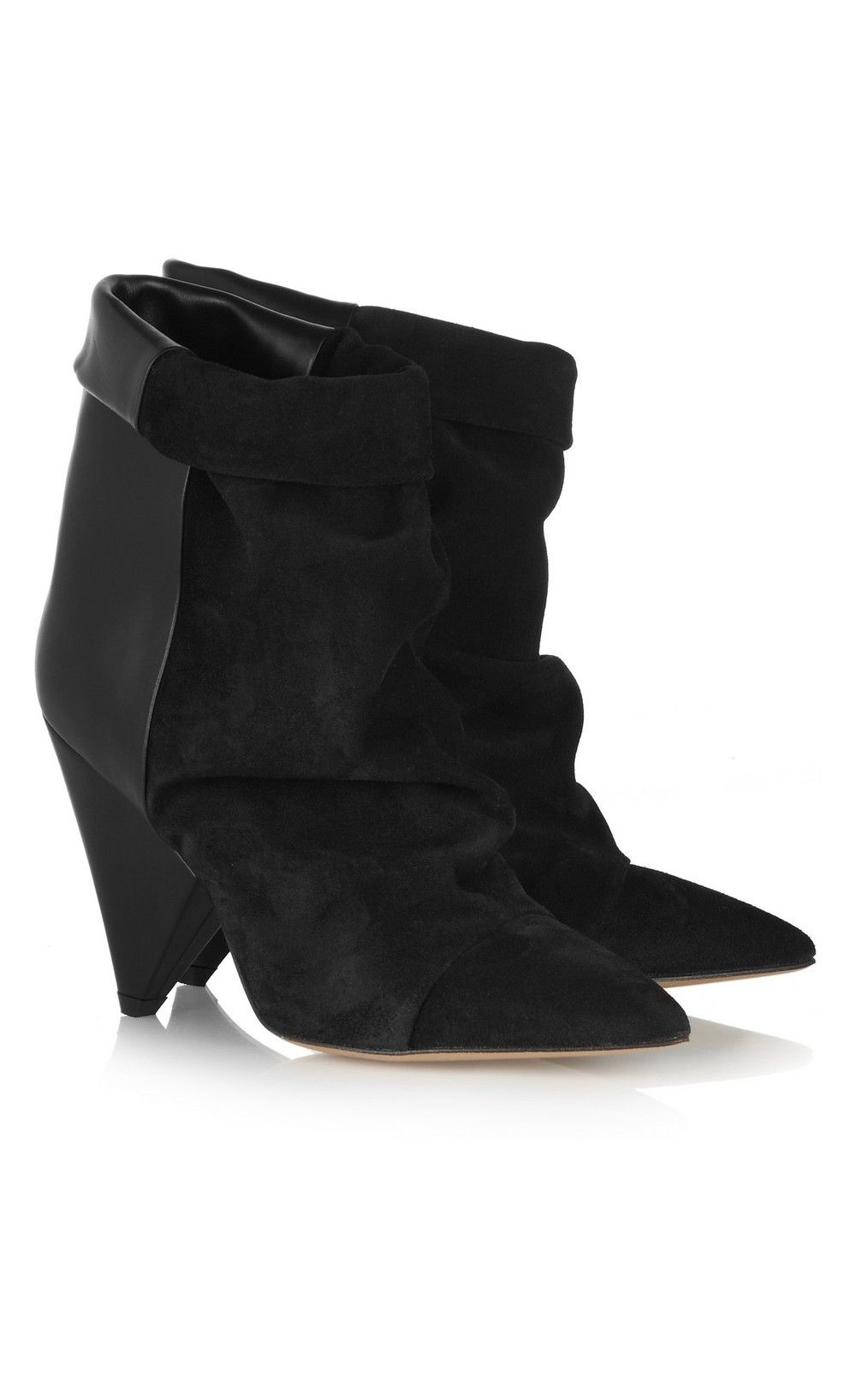 Isabel Marant Andrew Suede And Leather Ankle Boots Black Totryin2015 Damesmode