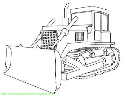 Aneka Gambar Mewarnai 5 Gambar Mewarnai Bulldozer Untuk Anak Paud
