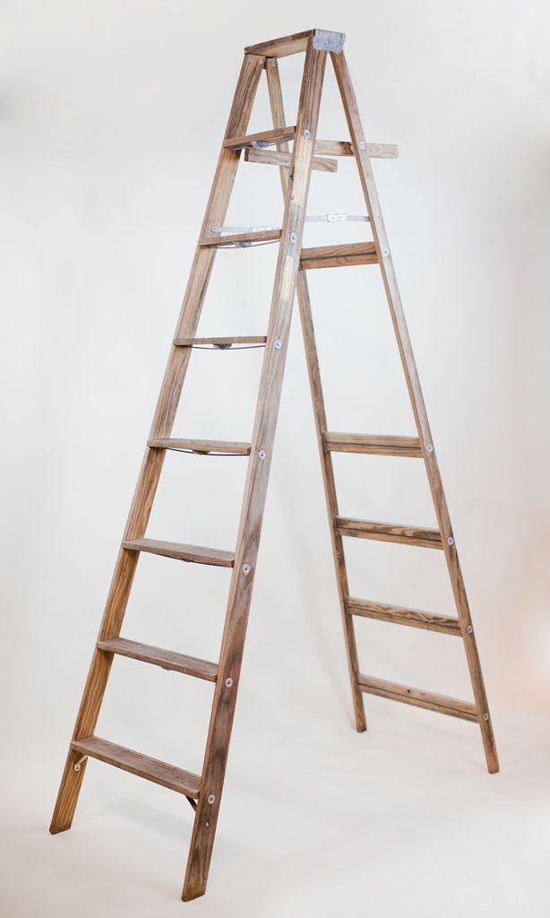 8\' wooden A-frame ladder: 8\' vintage wooden A-frame ladder. great as ...